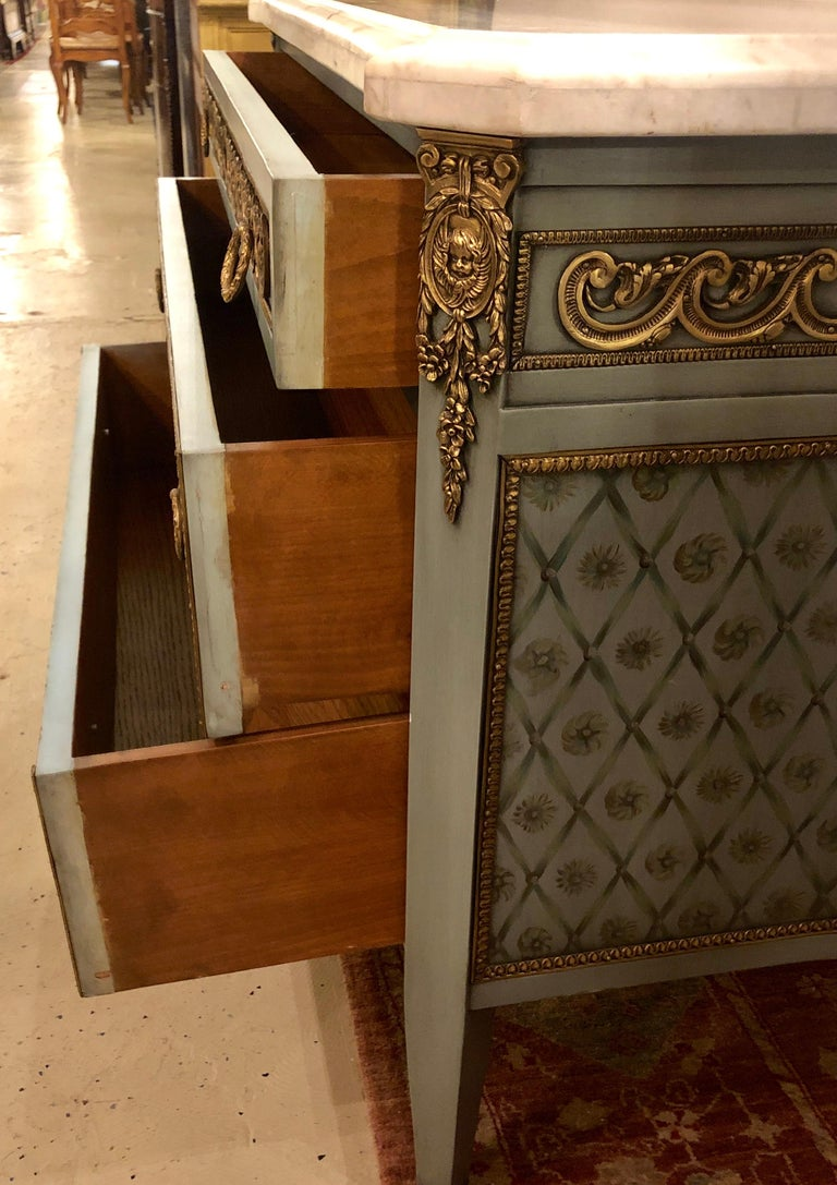 Hollywood Regency Marble-Top Commodes Chests Commode Nightstands Pair For Sale 8