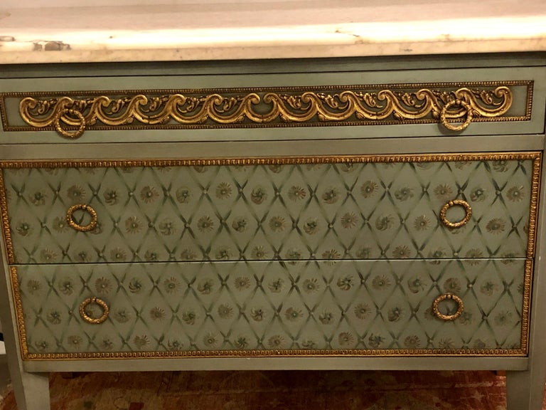 Hollywood Regency Marble-Top Commodes Chests Commode Nightstands Pair For Sale 10