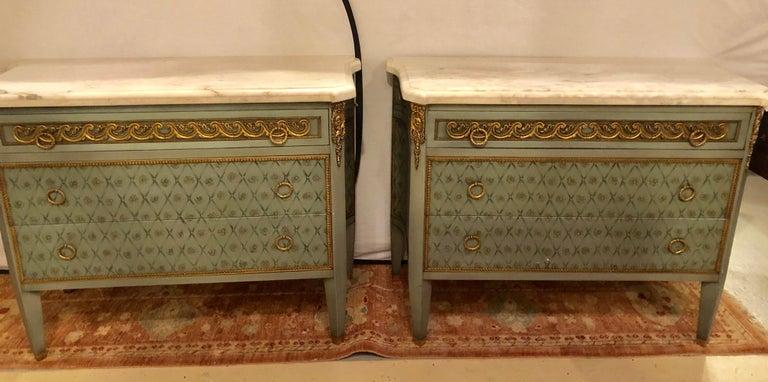 Hollywood Regency Marble-Top Commodes Chests Commode Nightstands Pair For Sale 13