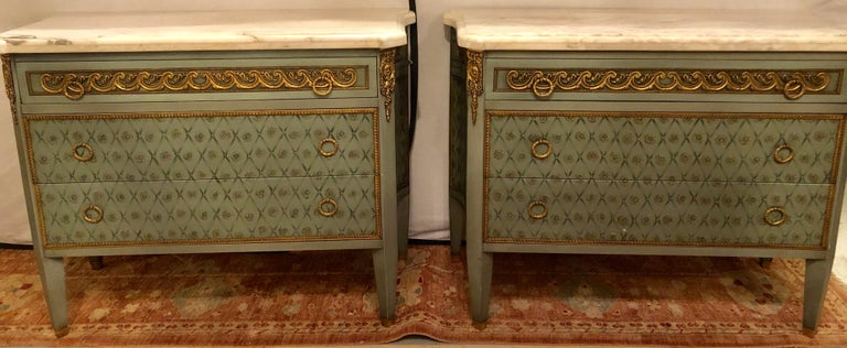 Hollywood Regency Marble-Top Commodes Chests Commode Nightstands Pair For Sale 14