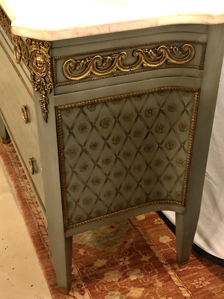 Hollywood Regency Marble-Top Commodes Chests Commode Nightstands Pair For Sale 2