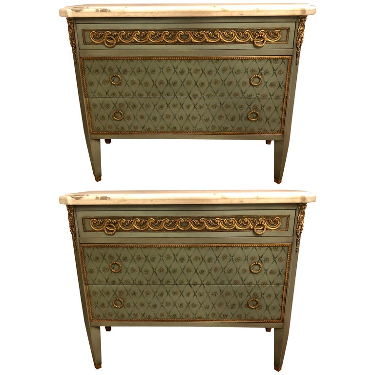 Hollywood Regency Marble-Top Commodes Chests Commode Nightstands Pair For Sale