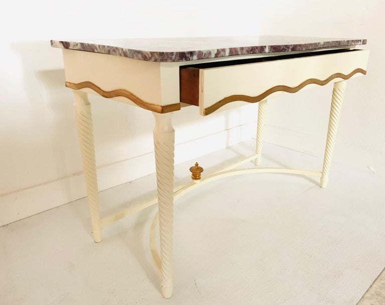 Painted Hollywood Regency Marble-Top Console For Sale