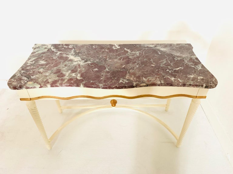 Hollywood Regency Marble-Top Console In Good Condition For Sale In New York, NY