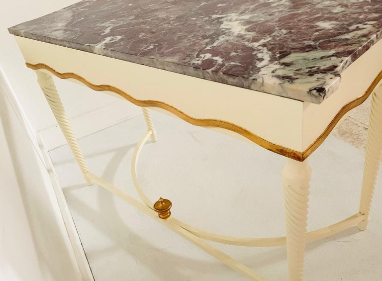 Mid-20th Century Hollywood Regency Marble-Top Console For Sale