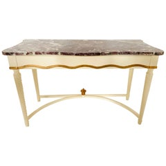 Hollywood Regency Marble-Top Console