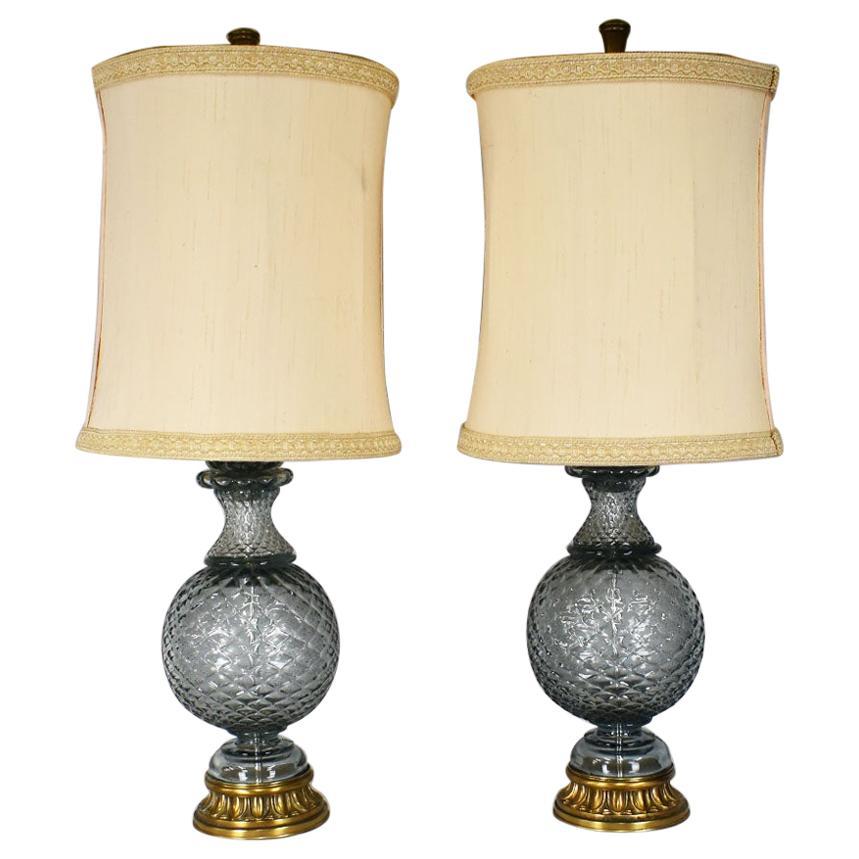 Hollywood Regency Marbro Lamp Company Tall Crystal Glass Lamps, a Pair