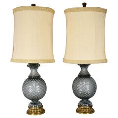 Hollywood Regency Marbro Lamp Company Tall Crystal Glass Lamps, a Pair