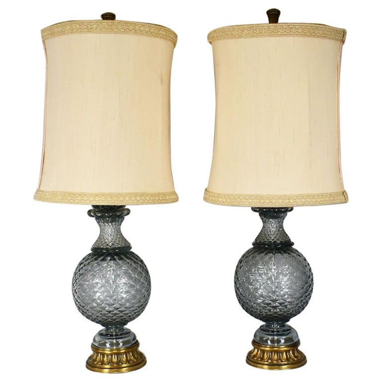 Hollywood Regency Marbro Lamp Company Tall Crystal Glass Lamps, a Pair For Sale