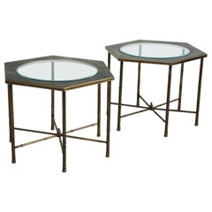 Hollywood Regency Mastercraft Brass Hexagon Side Tables