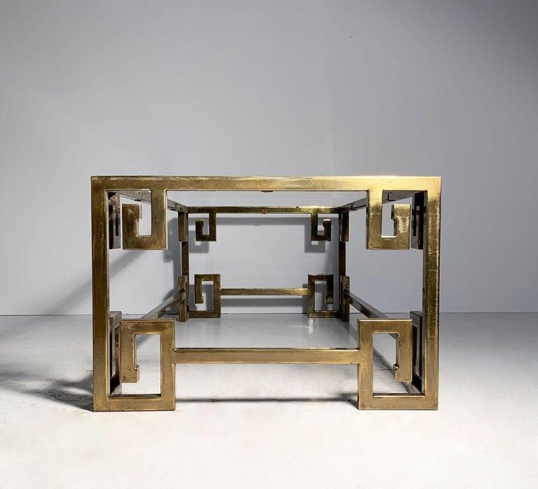American Hollywood Regency Mastercraft Greek Key Brass Coffee Table For Sale