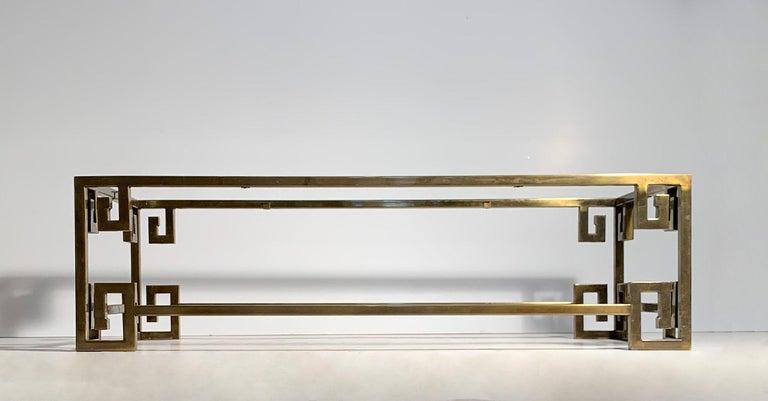 Hollywood Regency Mastercraft Greek Key Brass Coffee Table For Sale 1