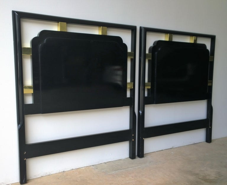 American Hollywood Regency Pair of Twin Gilt Metal and Lacquered Black Wood Headboards For Sale