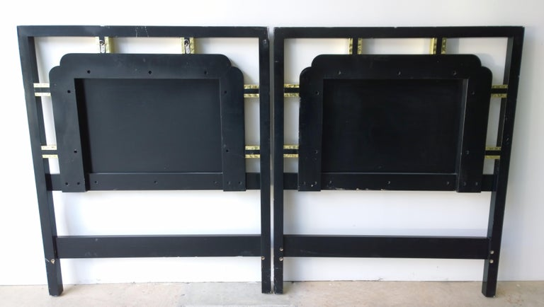 Hollywood Regency Pair of Twin Gilt Metal and Lacquered Black Wood Headboards For Sale 1