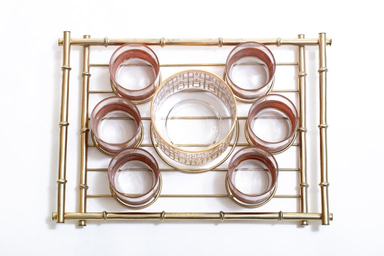 American Hollywood Regency Midcentury 22-Karat Gold Barware Set and Brass Bamboo Tray For Sale