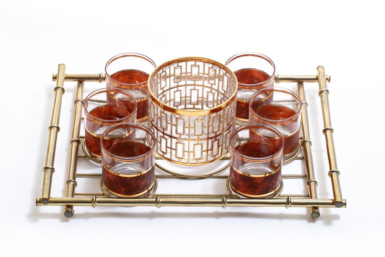 Hollywood Regency Midcentury 22-Karat Gold Barware Set and Brass Bamboo Tray In Good Condition For Sale In Saint Louis, MO