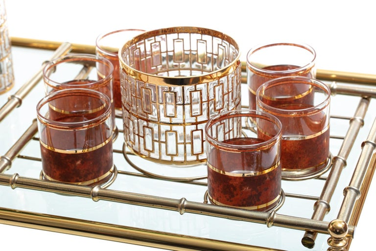 Mid-20th Century Hollywood Regency Midcentury 22-Karat Gold Barware Set and Brass Bamboo Tray For Sale
