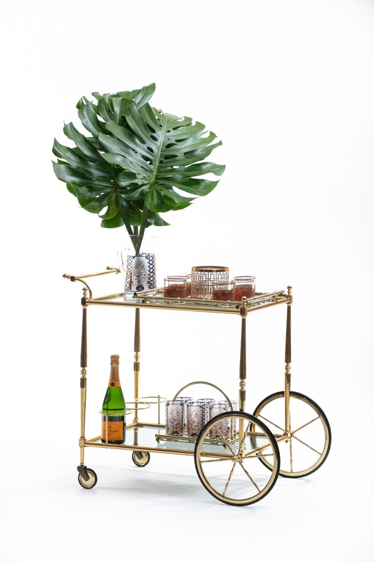 Hollywood Regency Midcentury 22-Karat Gold Barware Set and Brass Bamboo Tray For Sale 1