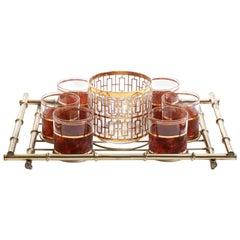 Hollywood Regency Midcentury 22-Karat Gold Barware Set and Brass Bamboo Tray