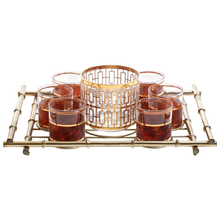 Hollywood Regency Midcentury 22-Karat Gold Barware Set and Brass Bamboo Tray For Sale