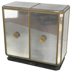 Hollywood Regency Midcentury Antiqued Mirrored Two-Door Bar or Serving Cabinet