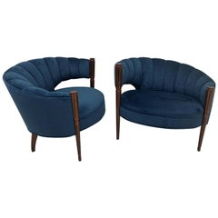 Hollywood Regency Mid-Century Modern Channel Back Lounge Chairs circa 1960, Pair