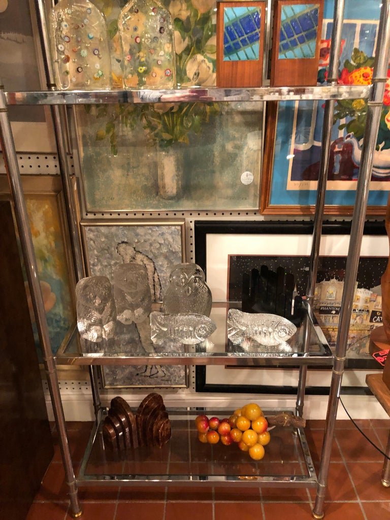 Hollywood Regency Mid Century Chrome and Brass Étagère For Sale 6