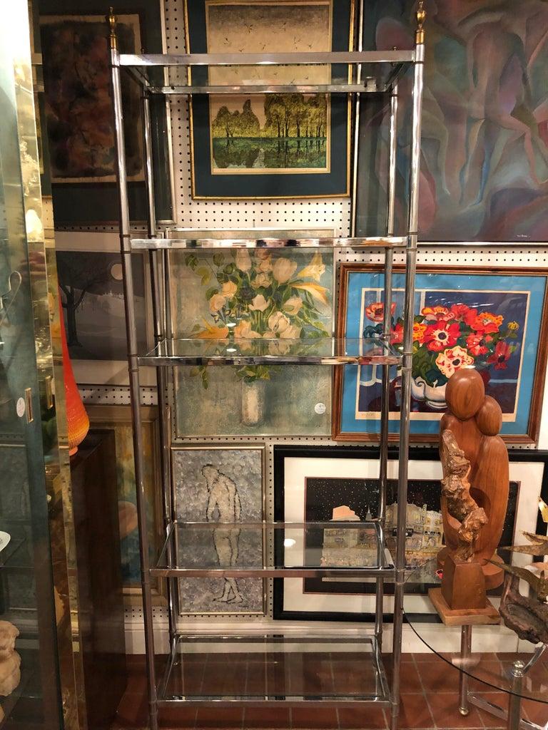 Hollywood Regency Mid Century Chrome and Brass Étagère For Sale 10