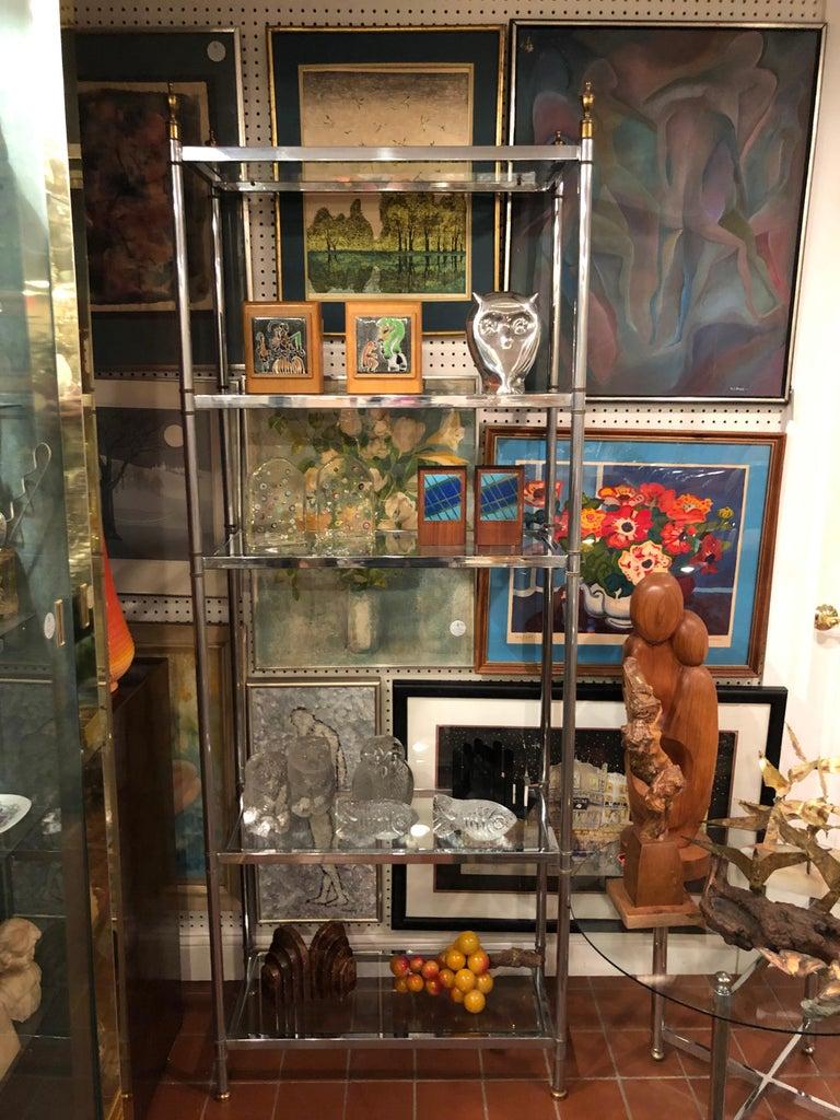 Hollywood Regency Mid Century Chrome and Brass Étagère For Sale 3