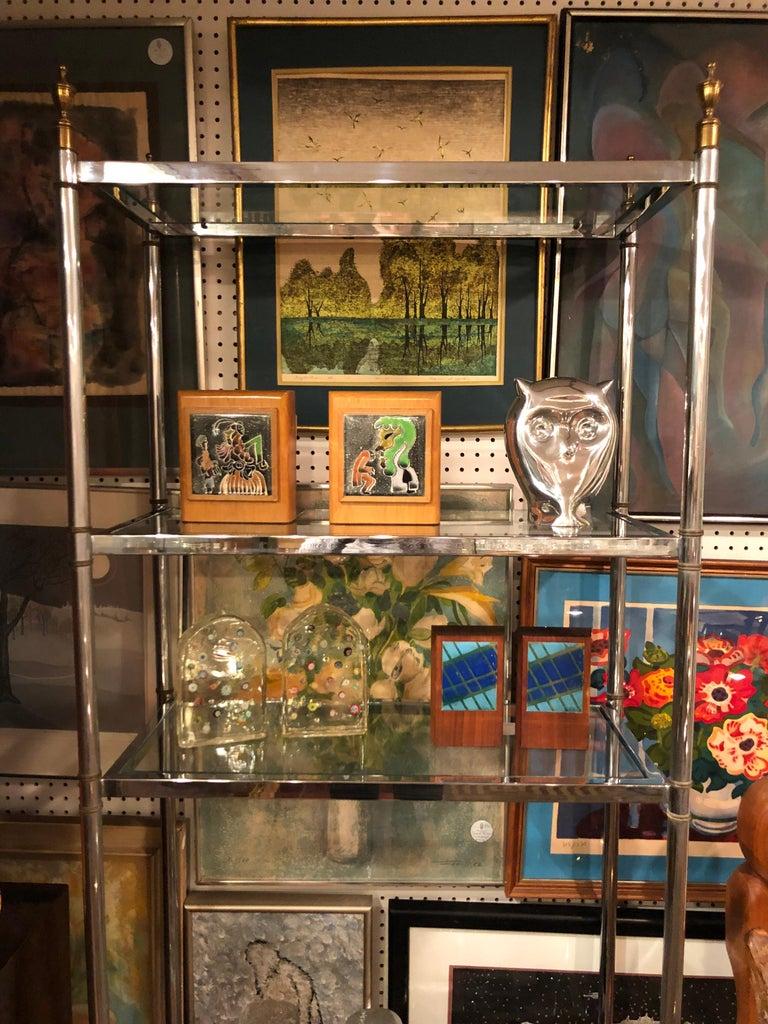 Hollywood Regency Mid Century Chrome and Brass Étagère For Sale 4
