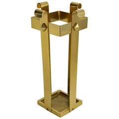 Hollywood Regency Midcentury Solid Brass Umbrella Stand, Italy, 1960s
