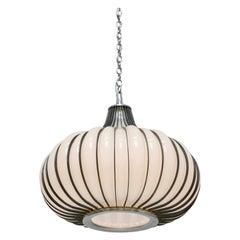 Hollywood Regency Milk Glass and Metal 'Allium' Hanging Onion Pendant Light