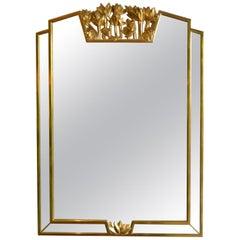 Hollywood Regency Mirror with Floral Details by Deknudt Belgium