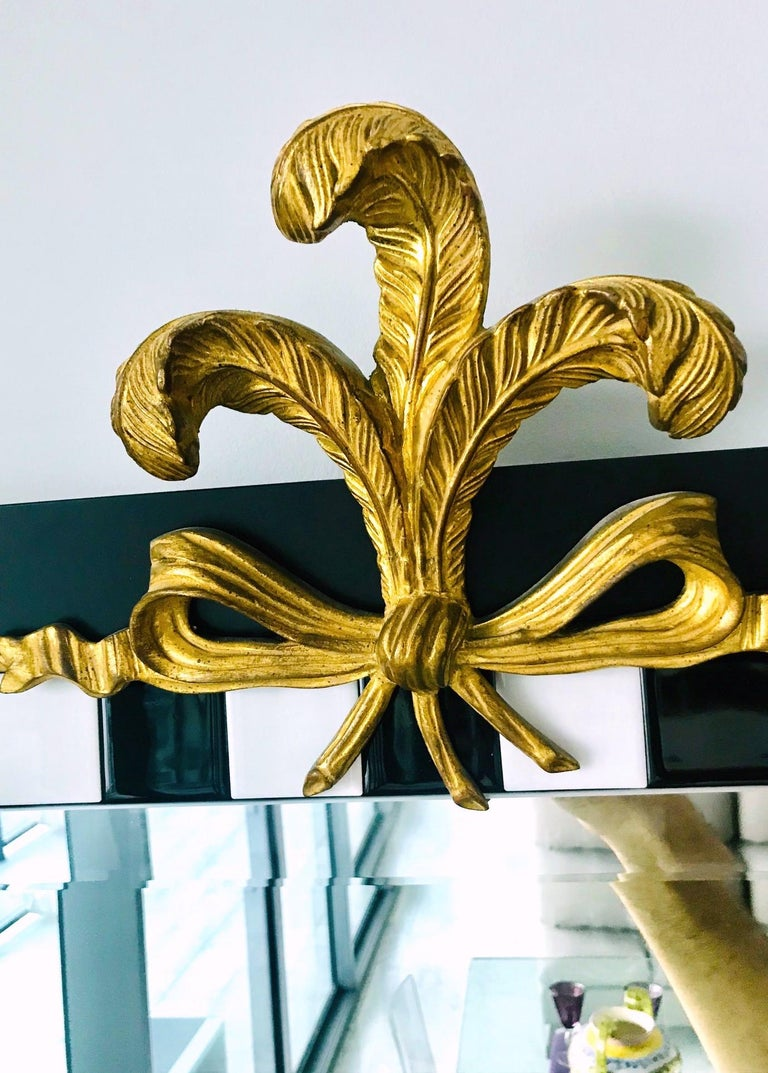 Hollywood Regency Mirror with Gold Leaf Plumes and Ceramic Tiles For Sale 3