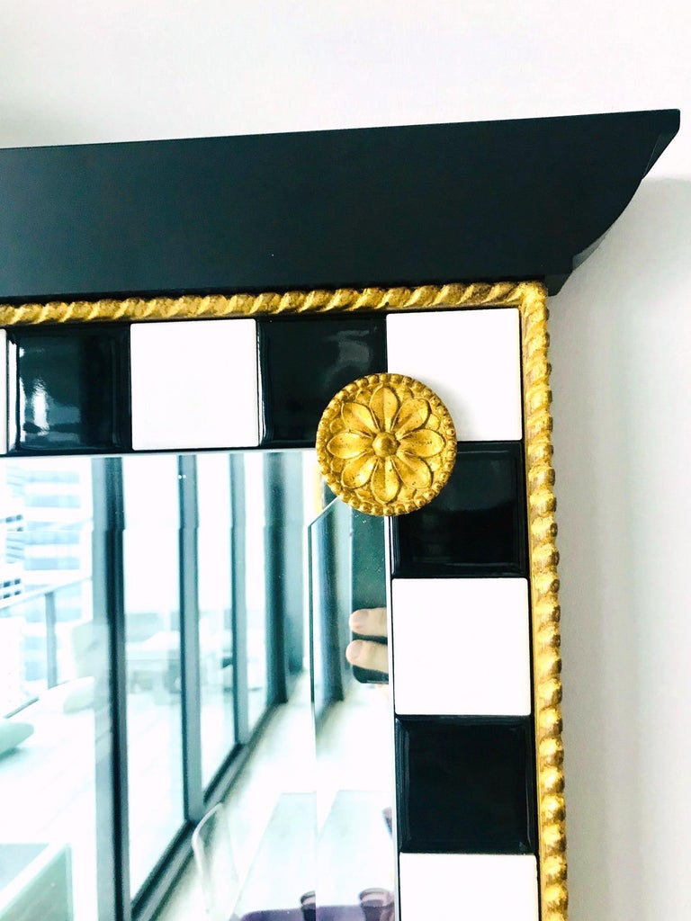 Hollywood Regency Mirror with Gold Leaf Plumes and Ceramic Tiles For Sale 4