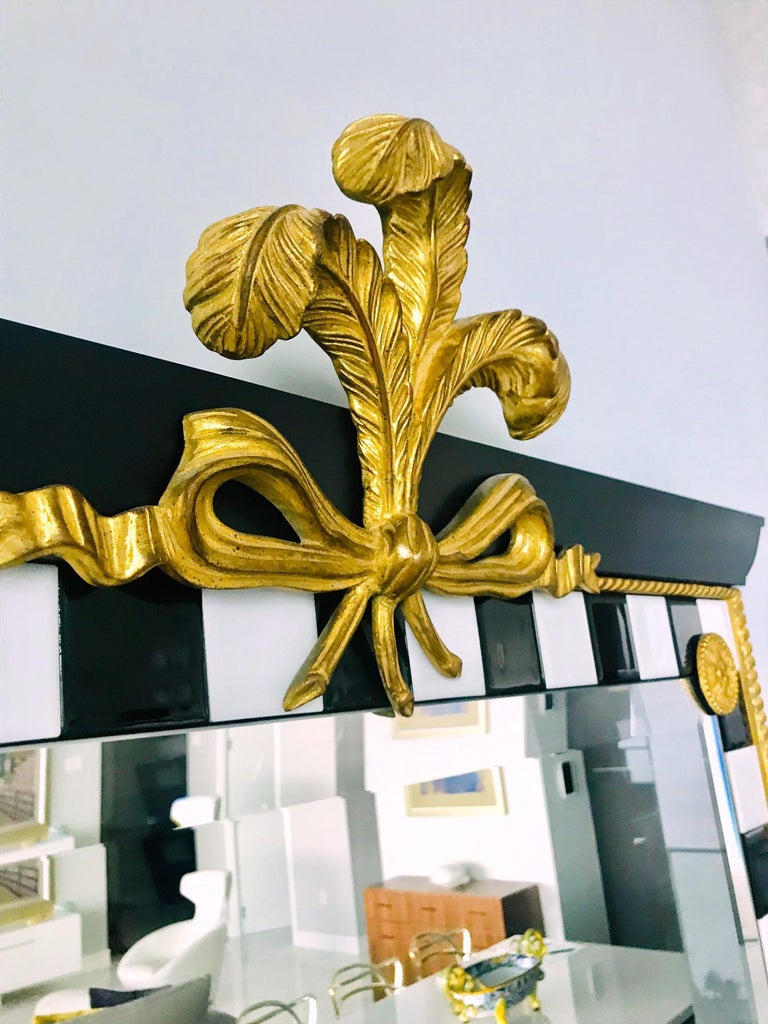 Italian Hollywood Regency Mirror with Gold Leaf Plumes and Ceramic Tiles For Sale