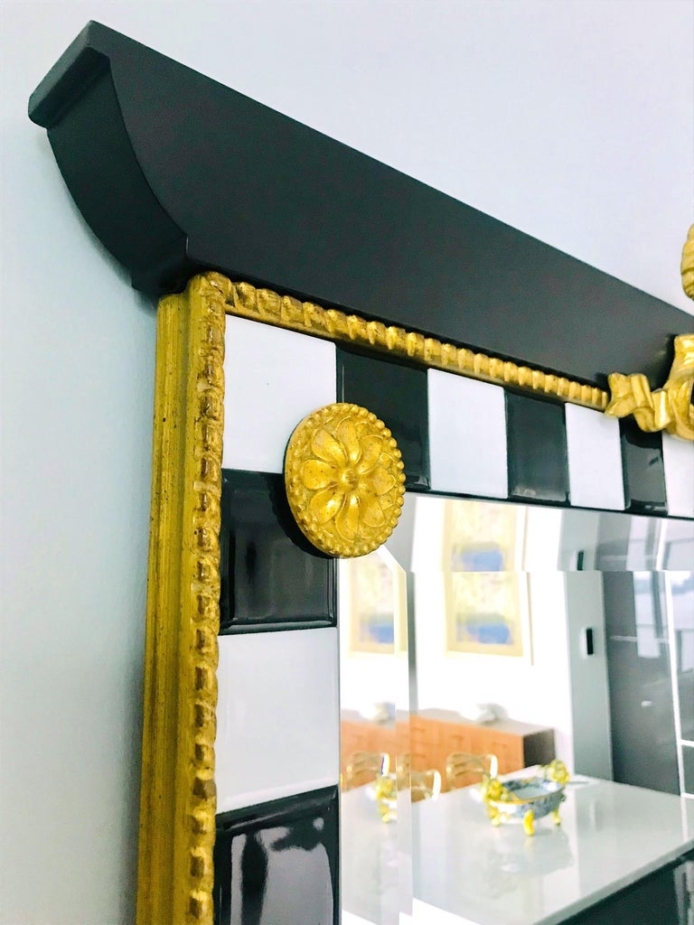 Ebonized Hollywood Regency Mirror with Gold Leaf Plumes and Ceramic Tiles For Sale