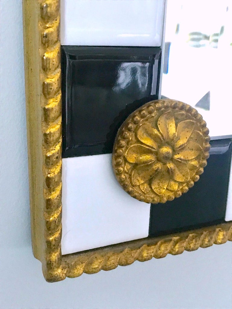 Hollywood Regency Mirror with Gold Leaf Plumes and Ceramic Tiles In Excellent Condition For Sale In Miami, FL