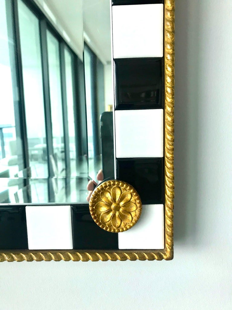Late 20th Century Hollywood Regency Mirror with Gold Leaf Plumes and Ceramic Tiles For Sale