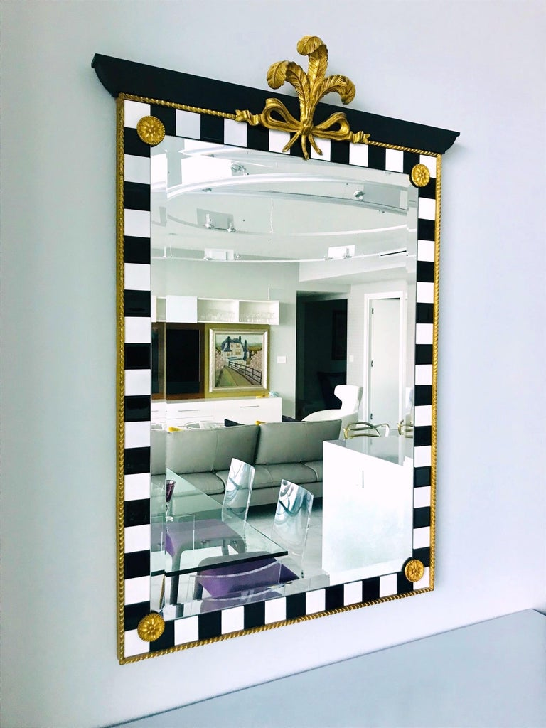 Hollywood Regency Mirror with Gold Leaf Plumes and Ceramic Tiles For Sale 1