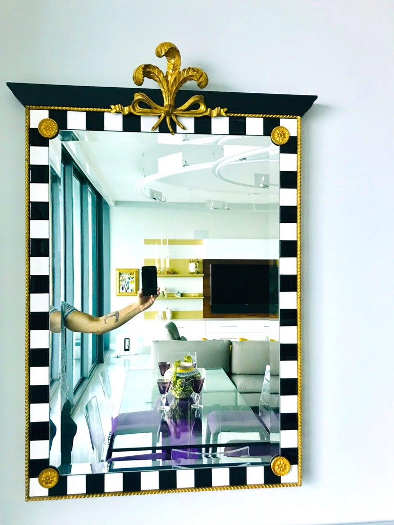 Hollywood Regency Mirror with Gold Leaf Plumes and Ceramic Tiles For Sale 2