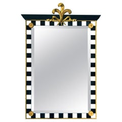 Hollywood Regency Mirror with Gold Leaf Plumes and Ceramic Tiles