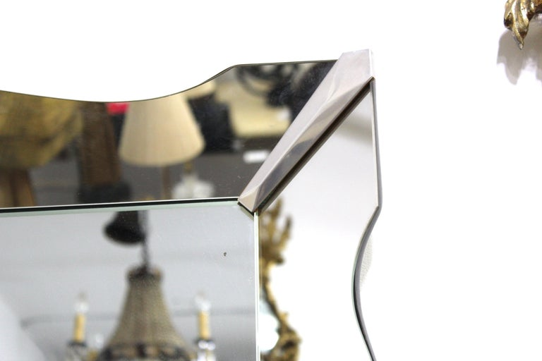20th Century Hollywood Regency Mirror With Scalloped Border For Sale