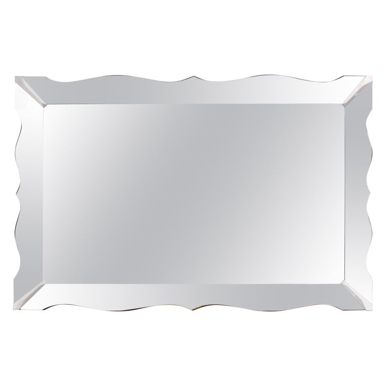Hollywood Regency Mirror With Scalloped Border For Sale