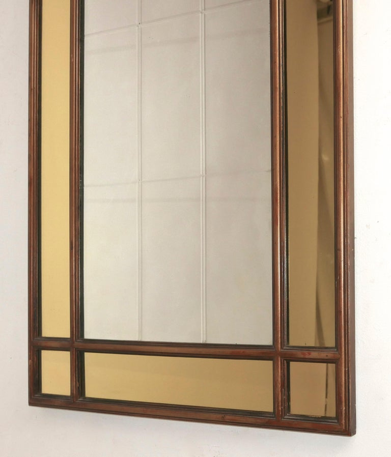 Hollywood Regency Mirror With Yellow Tinted Border For