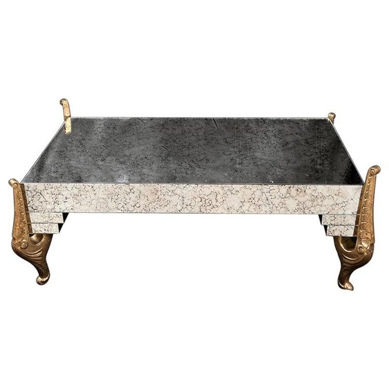 Mirrored Coffee Table Sale: Hollywood Regency Mirrored Coffee Table Gilded Carving