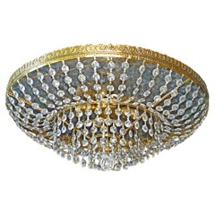 Hollywood Regency Mirrored Effect Crystal & Gilt Metal Flush Mount or Chandelier