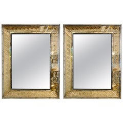 Hollywood Regency Mirrors Gilt Gold Greek Key Design Wall, Console Pier a Pair