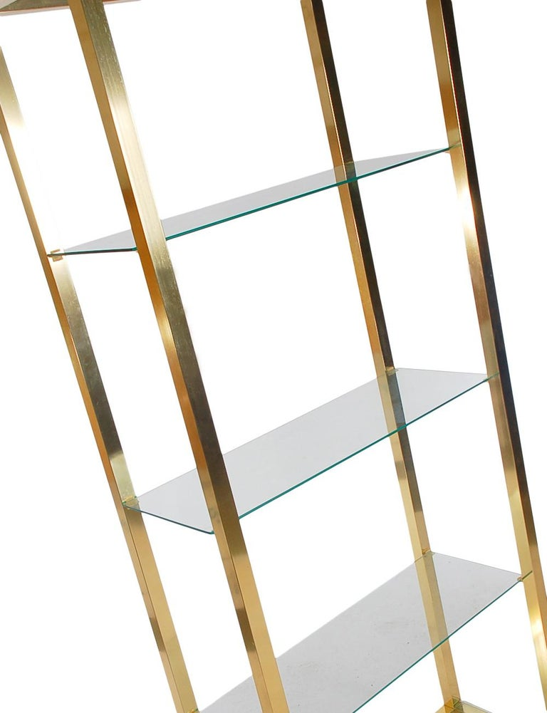 Italian Hollywood Regency Modern Brass and Glass Étagère, Wall Unit or Shelving Unit For Sale