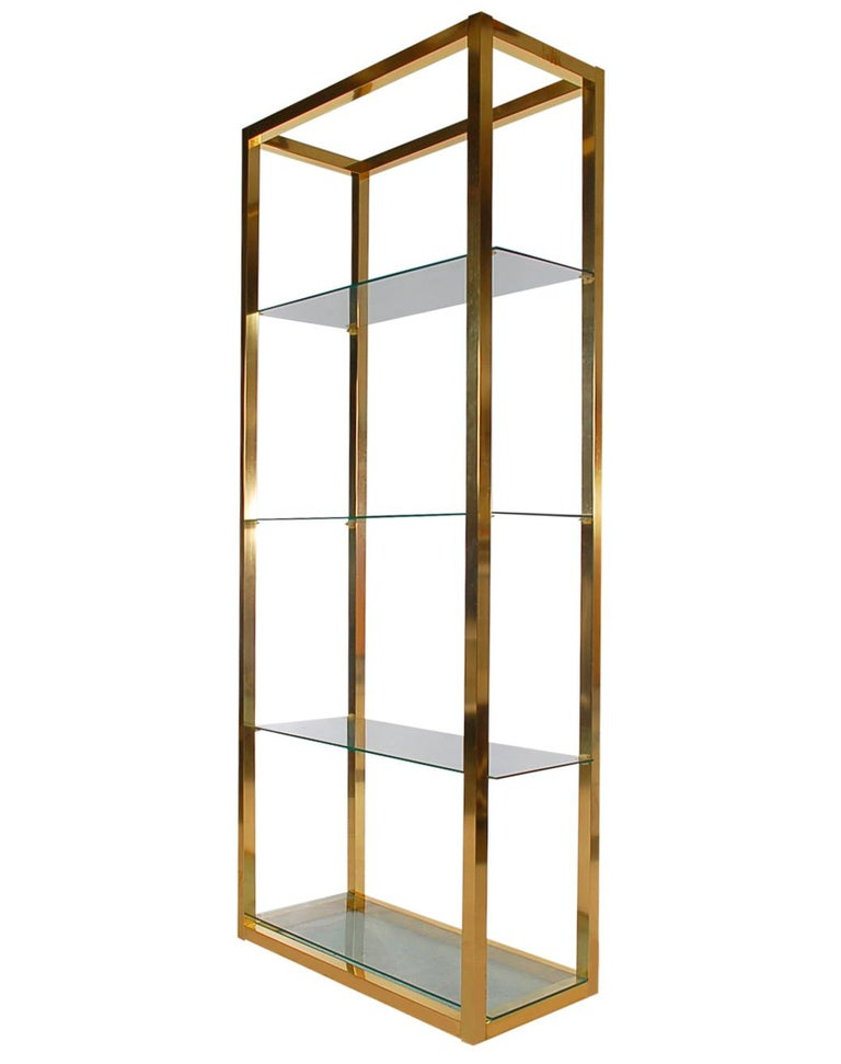 Hollywood Regency Modern Brass and Glass Étagère, Wall Unit or Shelving Unit In Good Condition For Sale In Philadelphia, PA
